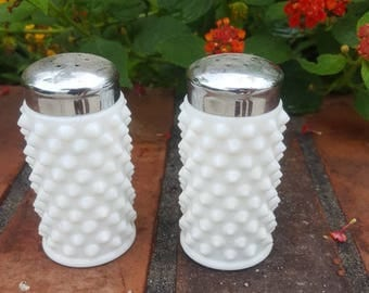 Vintage Milk Glass Salt and Pepper Shakers, Shabby Chic Decor, Wedding, White Salt and Pepper Shakers, Vintage Glass