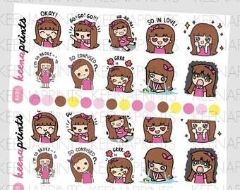 15% OFF A429 | SET V4 Keenachi Emotions Sampler Stickers Perfect for Erin Condren Life Planner, Filofax, Plum Paper & other planner