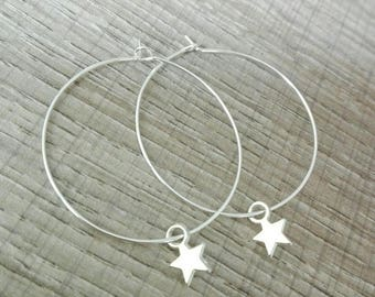 """Hoop silver band """"Charlie"""" and his little star"""