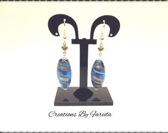 Oval turquoise and gold earrings