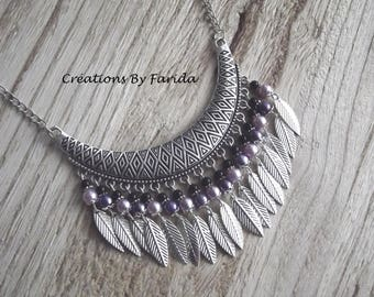 Necklace Bohemian bib with pink and purple beads and silver leaves