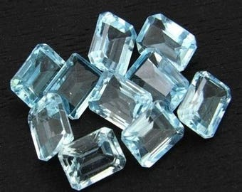 Lot Of 10 Piece Natural Sky Blue Topaz octagon cut faceted loose gemstone Calibrated loose gemstone for jewelry