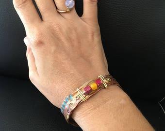 Air chased copper bracelet, men bracelet, unisex bracelet, organic bracelet, tribal chic, jungle style