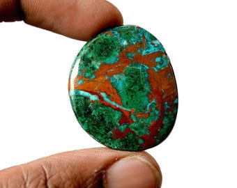 Chrysocolla 37.5 Cts AAA Quality Natural Gemstone Attractive Designer Free Form Shape Cabochon 33x28x4 MM R14149