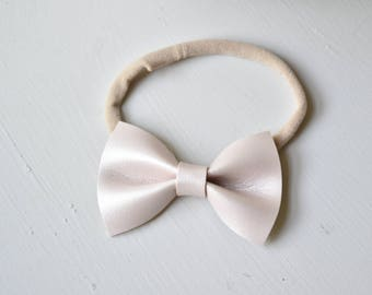light rose gold faux leather mini bow