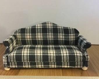 Dollhouse furniture handmade plaid sofa