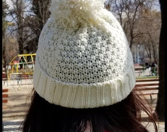 Hand-Knit Hat Acrylic and Wool in White Color with a Tassel