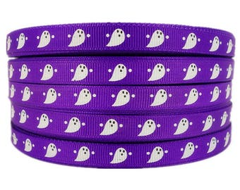 "3/8"" 50yards Halloween Ghost Pattern Printed Purple Grosgrains Ribbons"