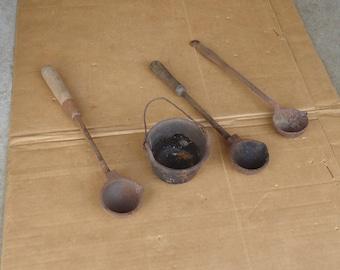 smelting ladle cast iron spoon,Vintage smelting pot,antique blacksmith tools primitive gunsmith