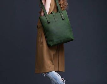 Green Leather Tote Bag / Women Handbag / Genuine Leather Shopper Bag / Leather Handbag / Leather Ladies Shoulder Bag