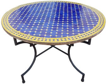 Round Moroccan Mosaic Table, Blue / Yellow