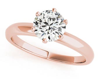 Classic Novo Solitaire Forever Brilliant Moissanite Engagement Ring in Rose Gold