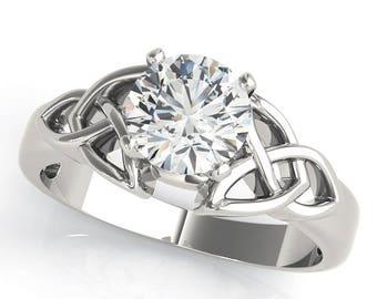 Forever Brilliant Moissanite Irish Celtic Knot Solitaire Engagement Ring