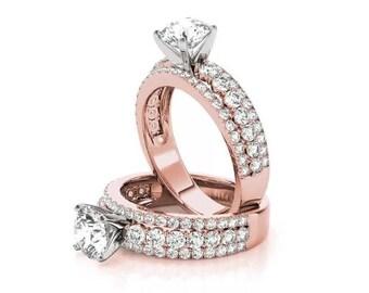 Forever Brilliant Moissanite Triple Row Diamond Engagement Ring in Rose Gold