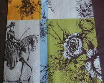 3 French toile de Jouy black and white paper napkins.