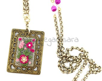 Brass necklace, pendant flowers pink polymer clay