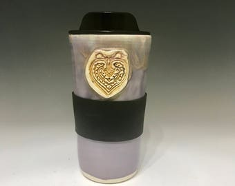 Valentines Handmade Travel Mug - Lavender Heart Travel Mug Travel Coffee Cup - Porcelain Travel Mug Pottery Mug - Commuter Cup
