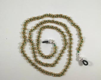 Beaded Glasses Chain, Gold and Green Daisy Chain Sunglasses Holder Strap, Lanyard, Eyeglasses Retainer