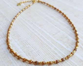 Amber Bead Choker Necklace