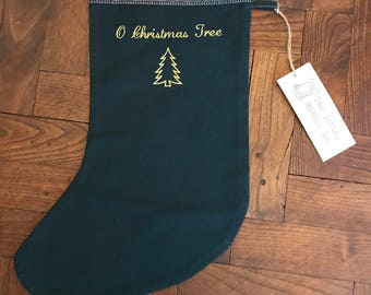 Green Stocking Dark Green Embroidered Cotton Stocking Gold O Christmas Tree Adult Stocking Gift Bag