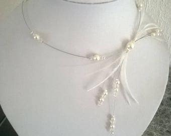 Necklace ivory/white and transparent beads feather bridal wedding party