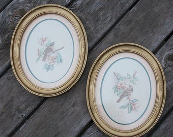 detailed oval frames homco home interiors bird pictures prints set of 2 framed matted