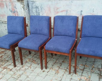 Four Navy blue Fabric vintage newly Upholstered Dining Chairs 70'