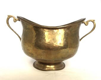 Vintage. Planter. Brass. Made in India. Succulent garden. Pop of color. Plants. Herbs