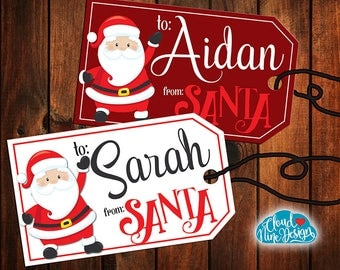 Santa Gift Tags - Christmas Gift Tags - From Santa Printable Stickers - Printable Gift Tags - Gifts for Kids - Santa Tags - Santa Stickers