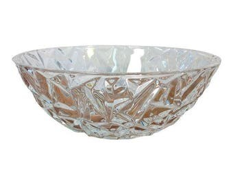 Tiffany CO Rock Cut 9 inch Round Crystal Serving Bowl