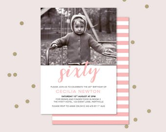 60th Birthday Invitation with photo - any age! Sixtieth birthday invitation, double sided invitation to print yourself. 70th, 90th, 80th