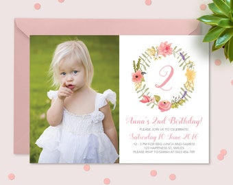 Girls floral wreath photo invitation // Watercolour floral birthday invitation // Girls modern 1st birthday invitation in pink and yellow