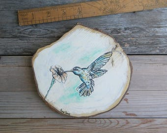 Kids Room Decor, Hummingbird Wood Picture, Hummingbird Print, Woodland Baby Shower, Rustic Sign, Country Decor, Wood Sign, Gift For Kids