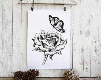 Rose and butterfly  sketch, Black and white flower print, Romantic wall art, Hipster room decor,