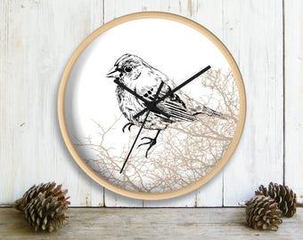 Bird Wall Clock, Printed Wall clock, Bird Decor, Farmhouse Wall Decor, Brown White Clock, Sparrow Bird Print, Nursery Clock, Bedroom Decor