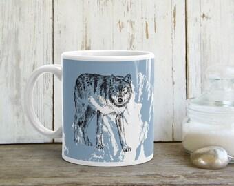 Blue White Mug, Wolf Coffee Mug, Tea Cup, Gray Wolf Tea Mug, Drink Gifts, Man Cave Stuff, Gift For Man, Drinkware, Printed Mug