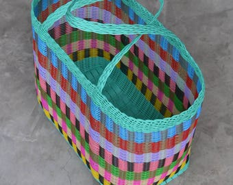 Woven Guatemalan Bright Green Mint Multi Color Plastic Market Basket Strong Resistant Bag Bright Colors