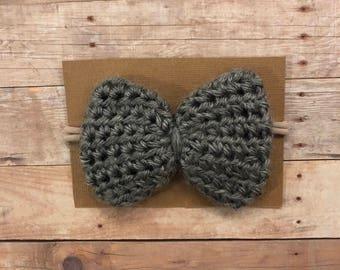 Headband, Baby headband, Bow, Crochet bow headband, Nylon headband, Grey Bow, Newborn, Photography prop, Big bow.