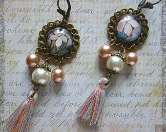 """Bohemian style """"Camellia"""" illustrated, glass cabochon glass Pearl Pink and white, bronze, tassel earrings"""