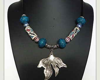 "Bib necklace ethnic ethnic ""GAO"" black leather, silver, aluminum, ceramic, turquoise resin"