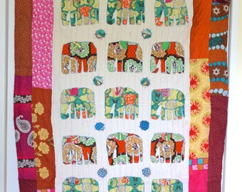 Unique Applique Elephants Patchwork Handmade Single Bedspread Table Cover Wallhanging 2.1x1.5m