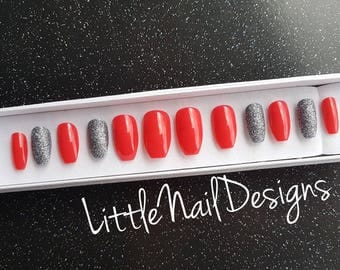 Hand painted coral / metallic grey glitter gun metal false nails