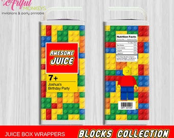 Printable Building Blocks Juice Box Labels | Personalized