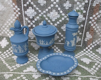Set of bathroom avon skin so soft Faux Wedgewood urn Greek