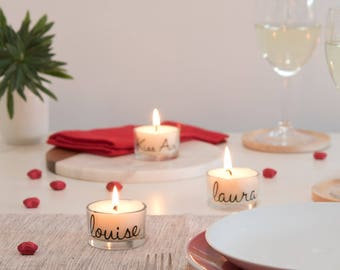 Dinner Party, Place Name Cards, name settings, Table Gifts, Personalised Candle Place Card Alternative