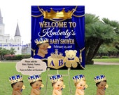 DIGITAL FILE Royal Baby Welcome Poster, Royal Baby Shower Decor, A Prince is On It's Way, Royal Blue and Gold, RB-004