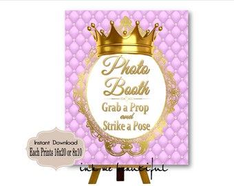PRINTABLE Princess Baby Shower Photobooth Sign,  Prints 16X20 8X10, Royal Baby Shower Decor, Royal Collection RL-008