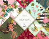 Tropical Digital Paper, Glitter Flamingo Patterns, Tropical Summer Planner Stickers, Exotic Birds Custom Fabrics, Hula Girls Surface Pattern