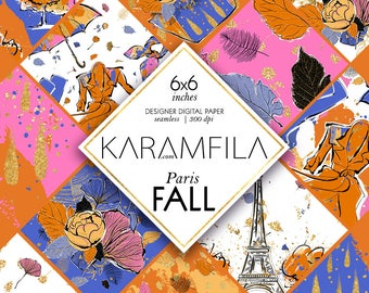 Fall Digital Paper. Autumn Digital Paper Paris Fall Fashion Illustration Fall Seamless Patterns Umbrella Gold Rain Drops Planner Stickers