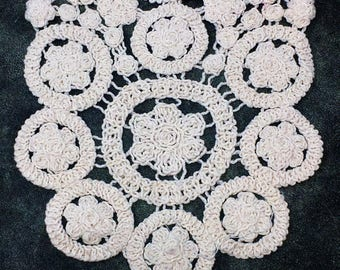 Off White Crochet Floral Pattern Sew On Applique